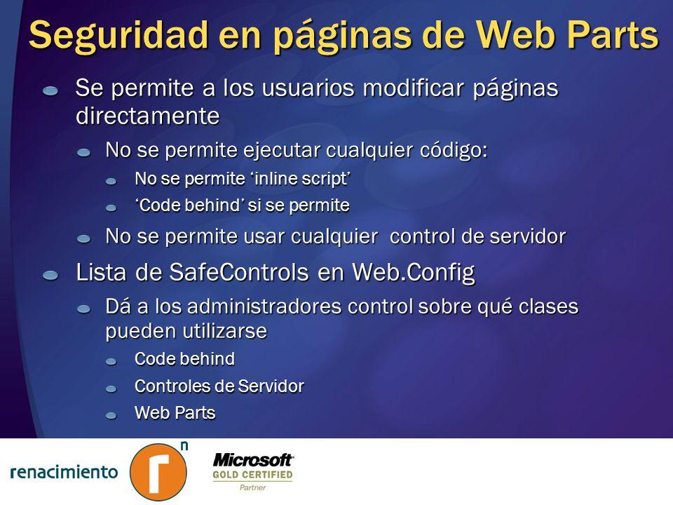Seguridad en páginas de Web Parts