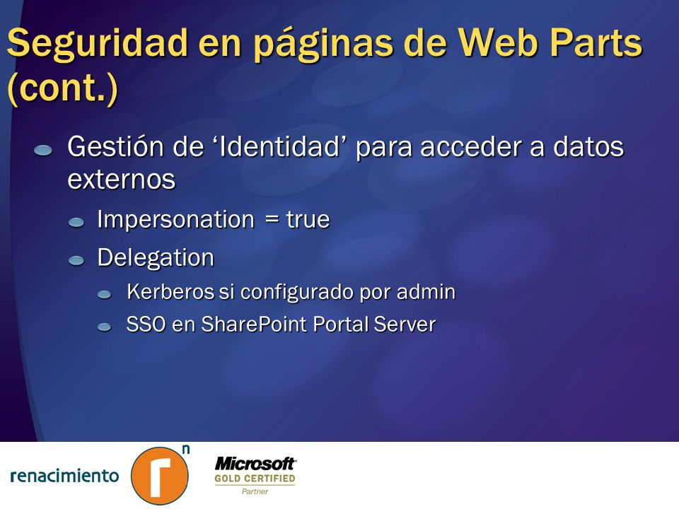 Seguridad en páginas de Web Parts (cont.)