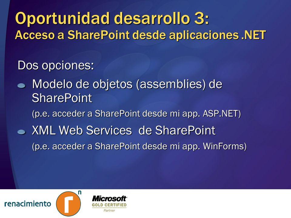 Oportunidad desarrollo 3: Acceso a SharePoint desde aplicaciones .NET