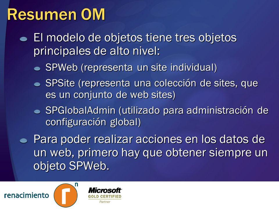 Resumen OM El modelo de objetos tiene tres objetos principales de alto nivel: SPWeb (representa un site individual)