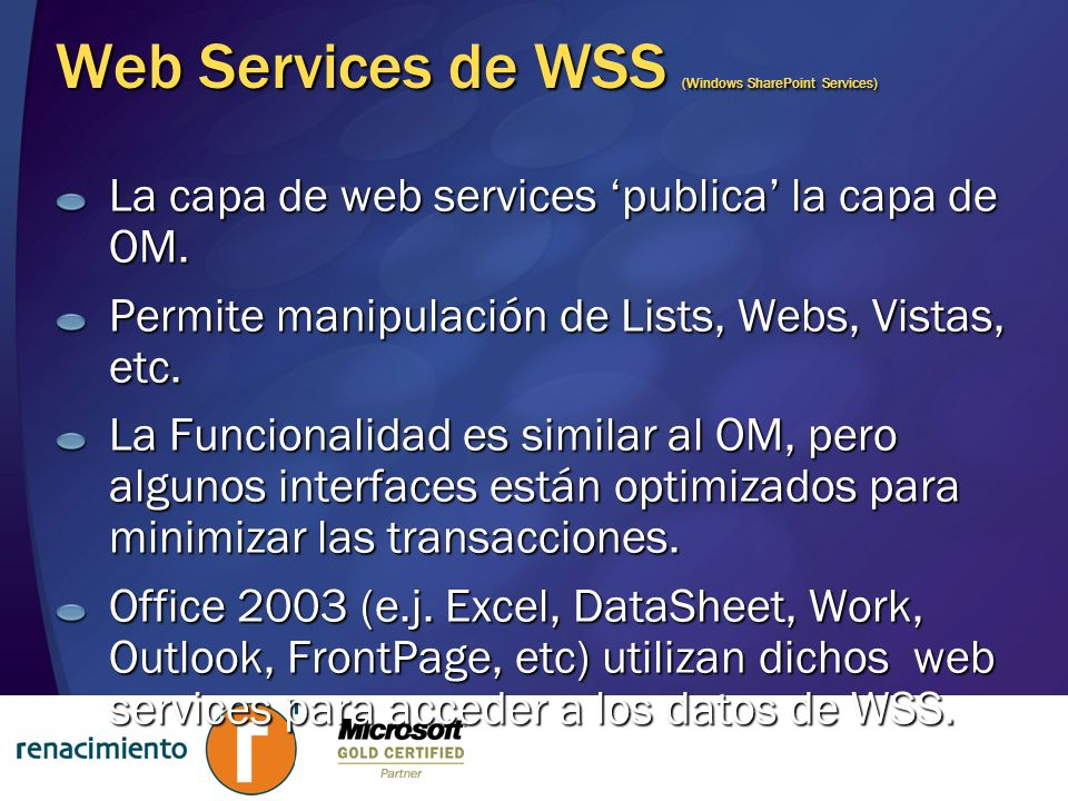 Web Services de WSS (Windows SharePoint Services)
