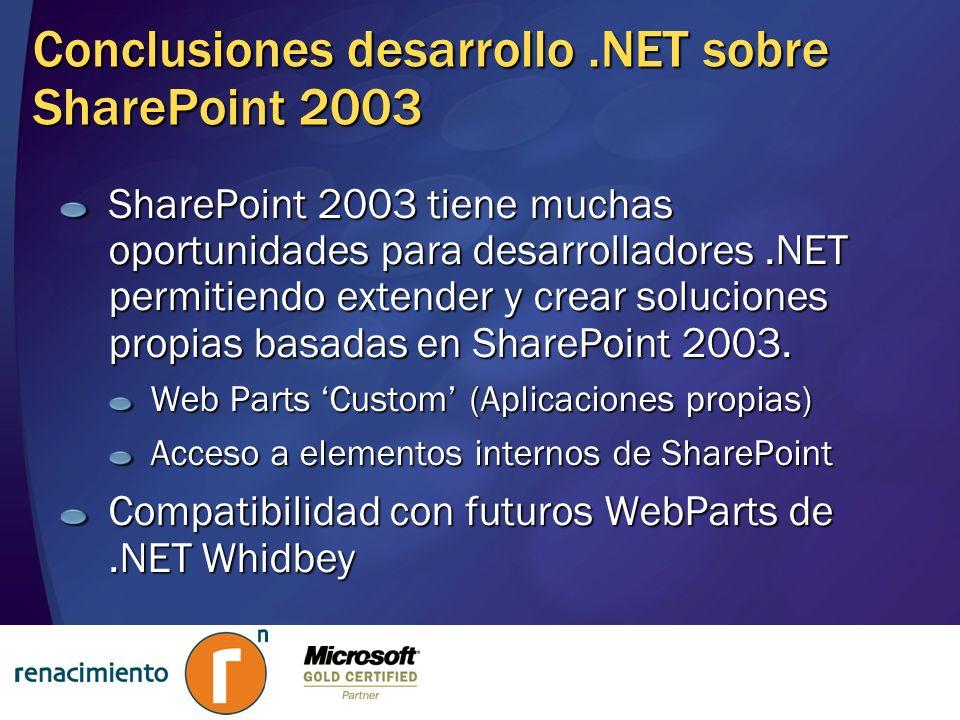 Conclusiones desarrollo .NET sobre SharePoint 2003