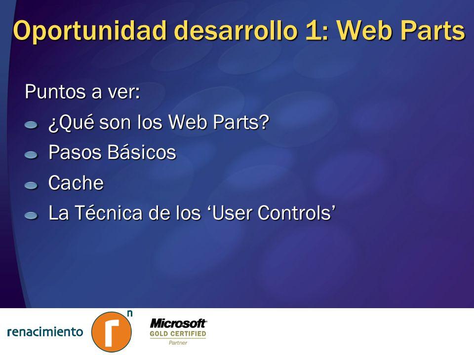 Oportunidad desarrollo 1: Web Parts
