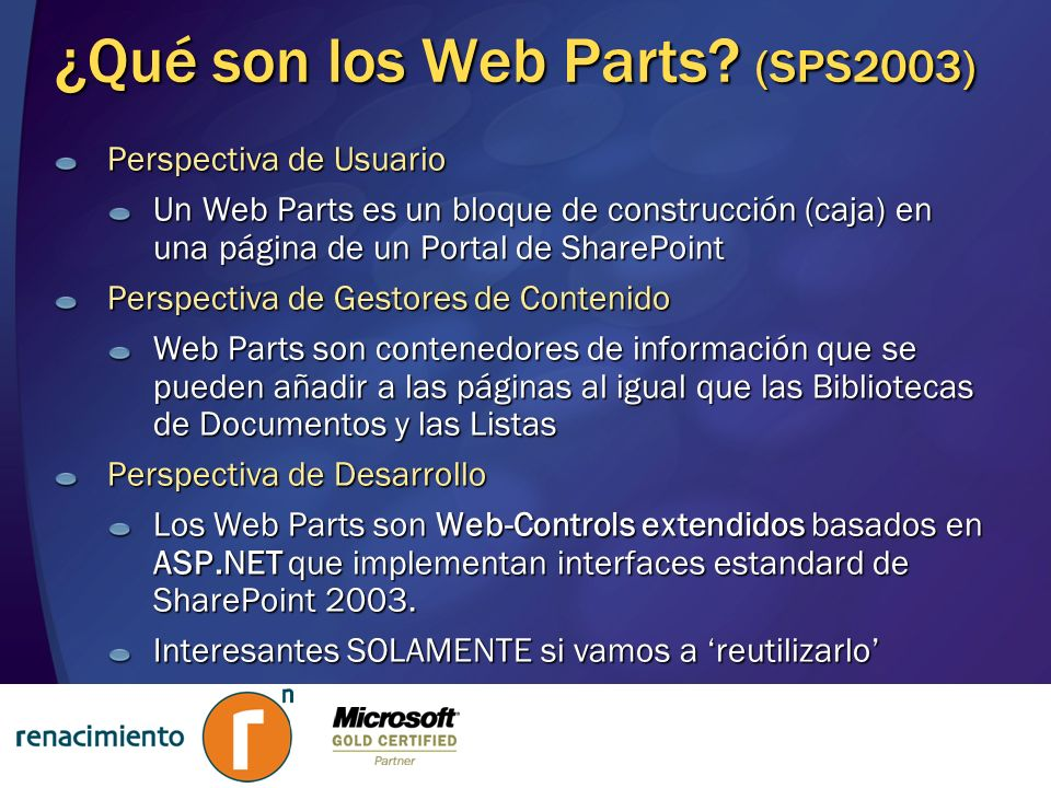 ¿Qué son los Web Parts (SPS2003)