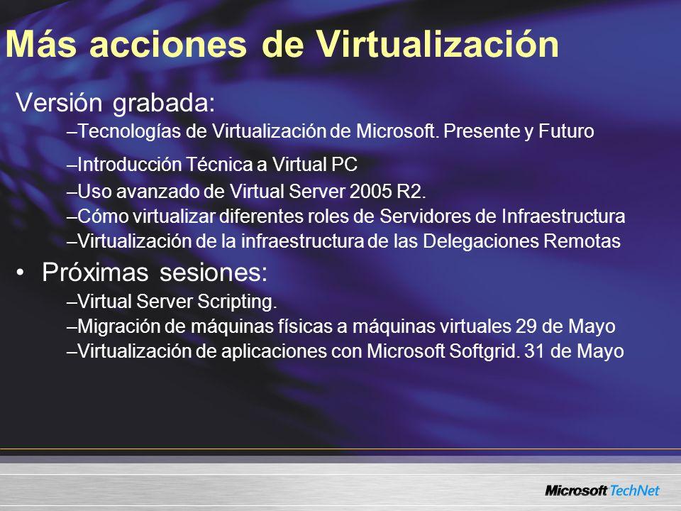 Más acciones de Virtualización