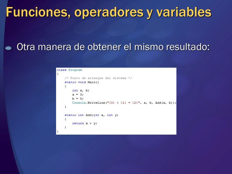 Funciones, operadores y variables
