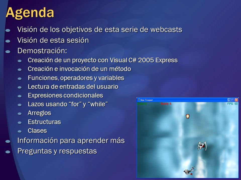 Agenda Visión de los objetivos de esta serie de webcasts