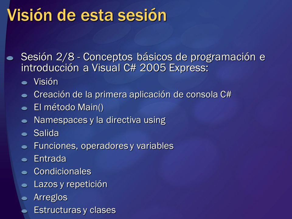 Visión de esta sesión Sesión 2/8 - Conceptos básicos de programación e introducción a Visual C# 2005 Express: