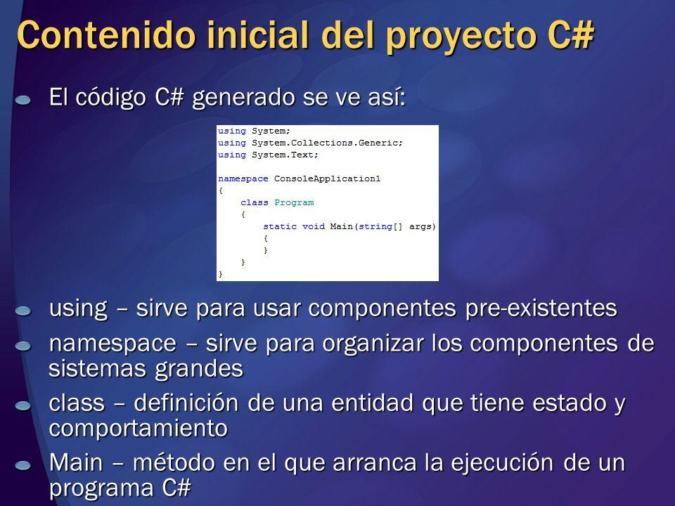 Contenido inicial del proyecto C#
