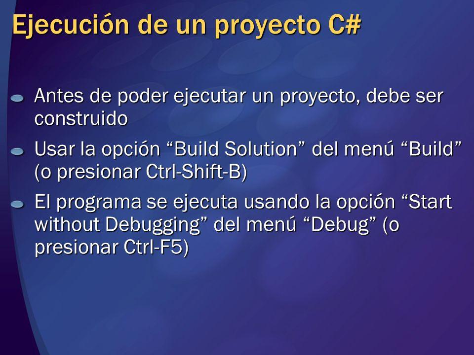 Ejecución de un proyecto C#