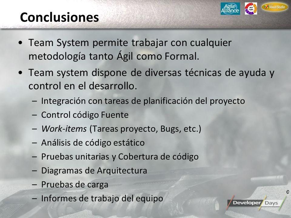 ConclusionesTeam System permite trabajar con cualquier metodología tanto Ágil como Formal.