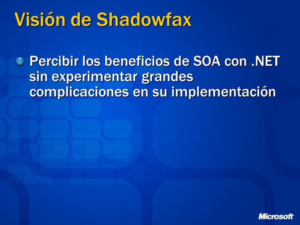 Visión de Shadowfax Percibir los beneficios de SOA con .NET sin experimentar grandes complicaciones en su implementación.
