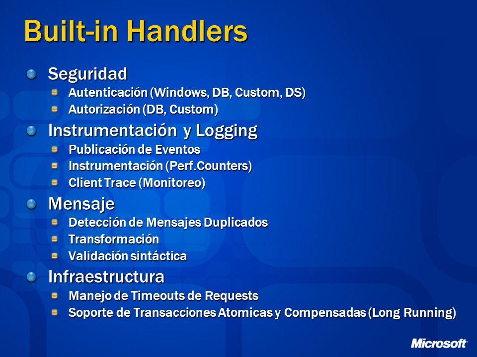 Built-in Handlers Seguridad Instrumentación y Logging Mensaje