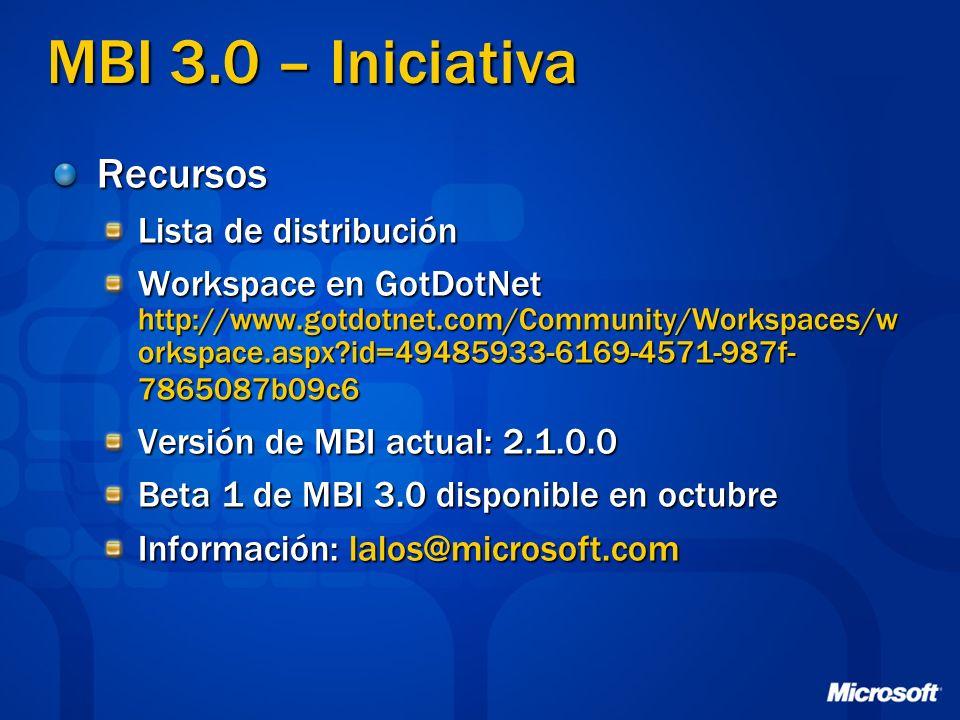 MBI 3.0 – Iniciativa Recursos Lista de distribución
