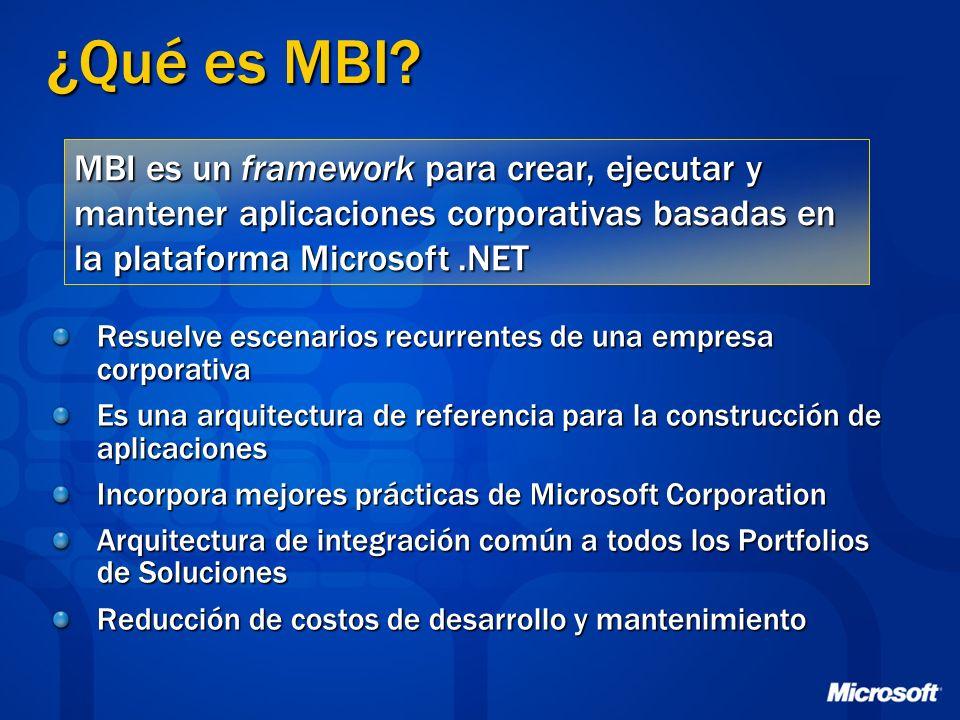 ¿Qué es MBI MBI es un framework para crear, ejecutar y mantener aplicaciones corporativas basadas en la plataforma Microsoft .NET.