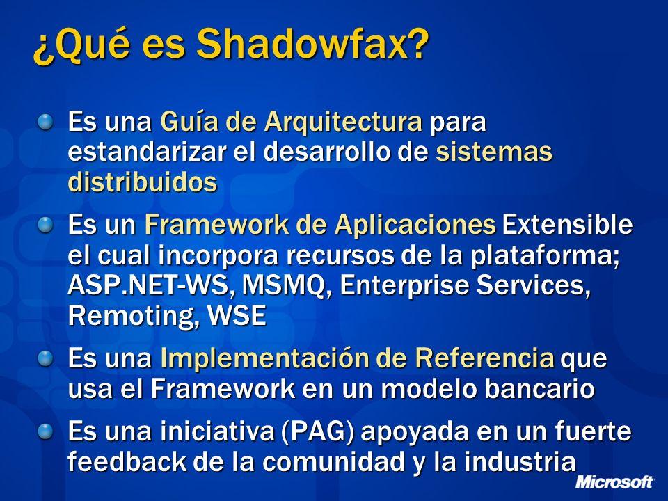 ¿Qué es Shadowfax Es una Guía de Arquitectura para estandarizar el desarrollo de sistemas distribuidos.