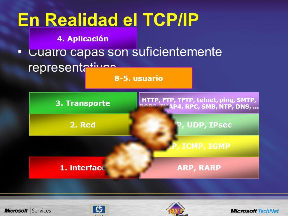 En Realidad el TCP/IP Cuatro capas son suficientemente representativas