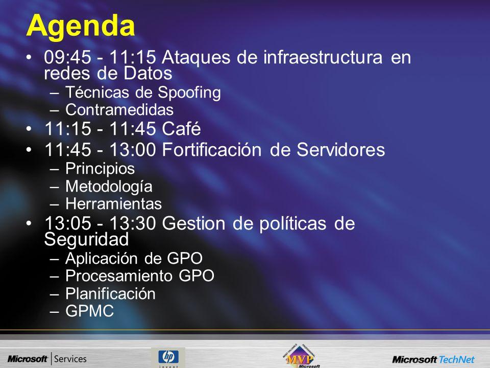 Agenda 09:45 - 11:15 Ataques de infraestructura en redes de Datos