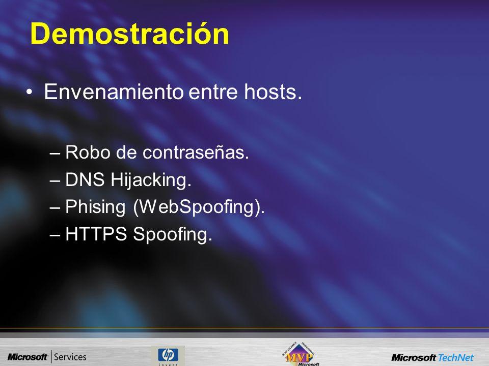 Demostración Envenamiento entre hosts. Robo de contraseñas.