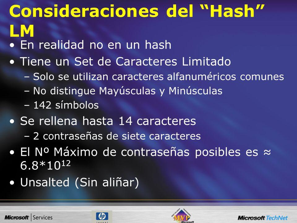 Consideraciones del Hash LM