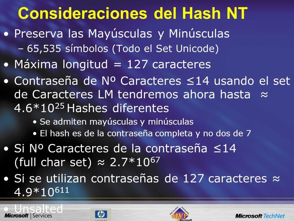 Consideraciones del Hash NT