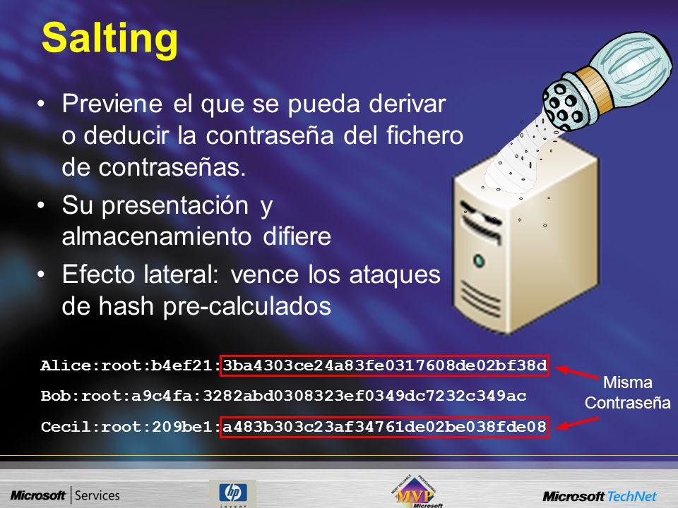 Salting Previene el que se pueda derivar o deducir la contraseña del fichero de contraseñas. Su presentación y almacenamiento difiere.