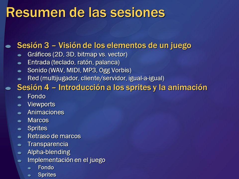 Resumen de las sesiones