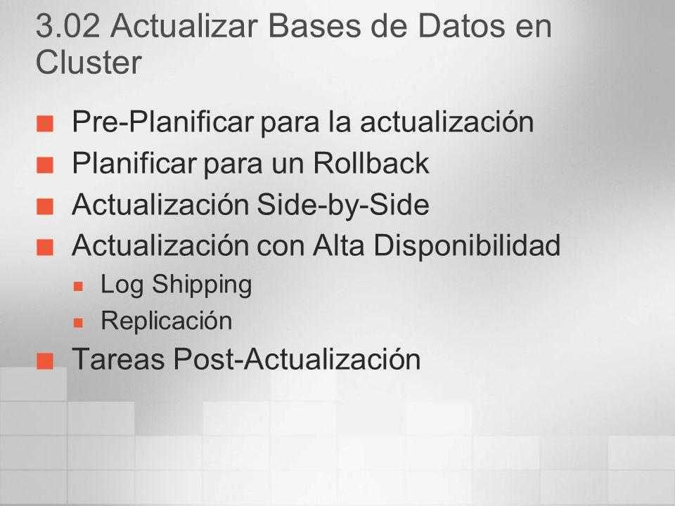 3.02 Actualizar Bases de Datos en Cluster
