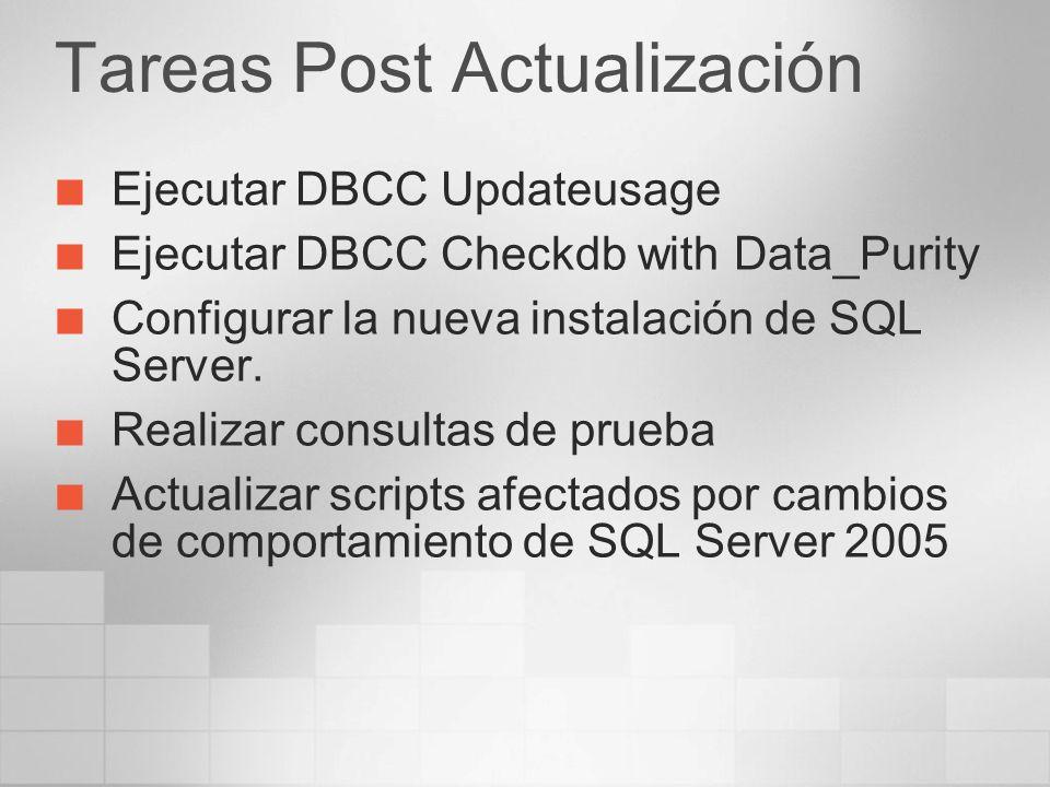 Tareas Post Actualización