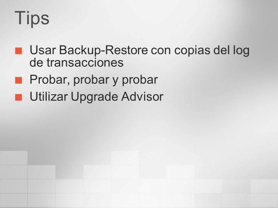 Tips Usar Backup-Restore con copias del log de transacciones