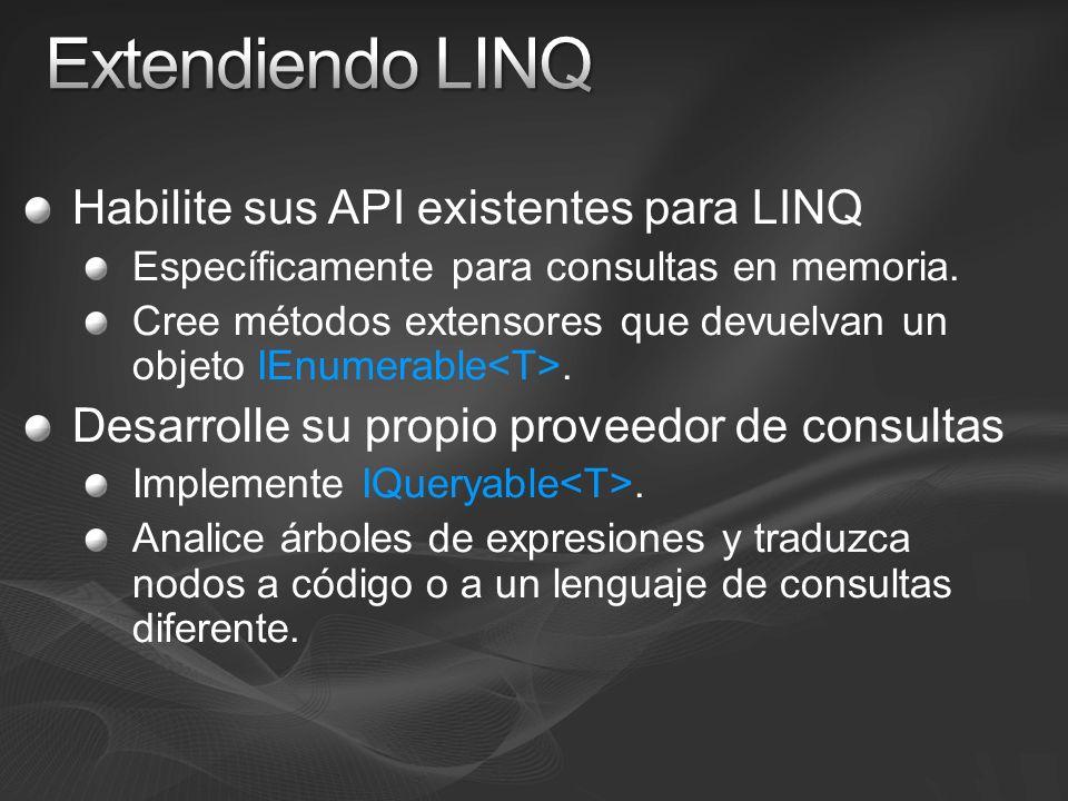 Extendiendo LINQ Habilite sus API existentes para LINQ