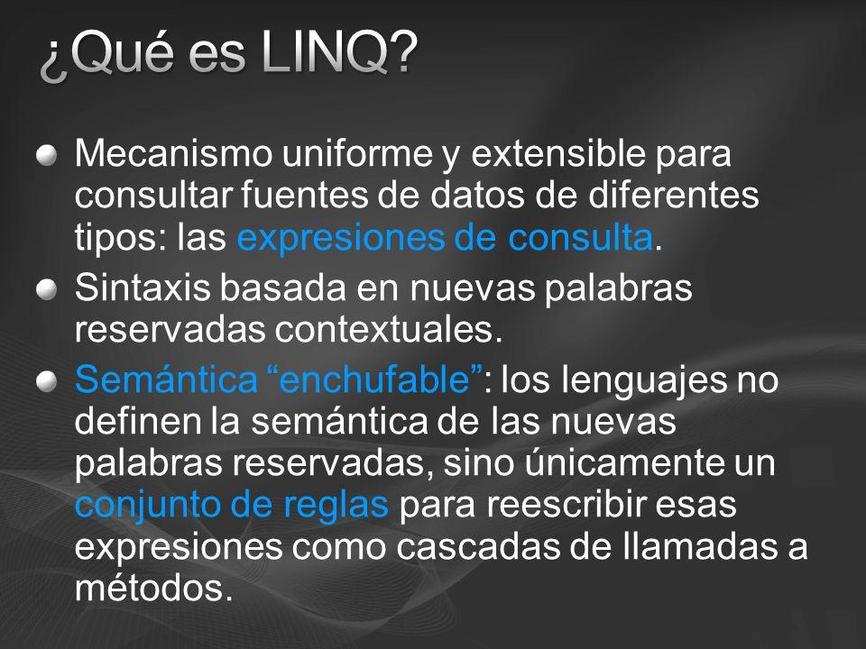 3/24/2017 3:59 PM ¿Qué es LINQ Mecanismo uniforme y extensible para consultar fuentes de datos de diferentes tipos: las expresiones de consulta.