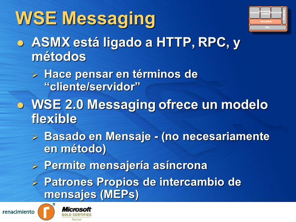 WSE Messaging ASMX está ligado a HTTP, RPC, y métodos