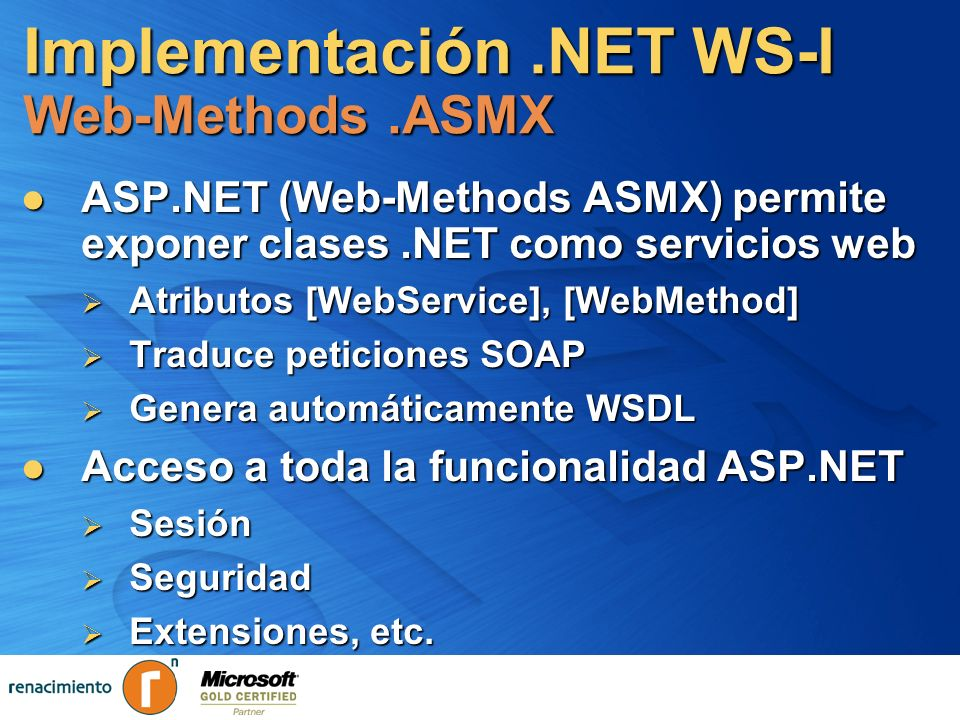 Implementación .NET WS-I Web-Methods .ASMX