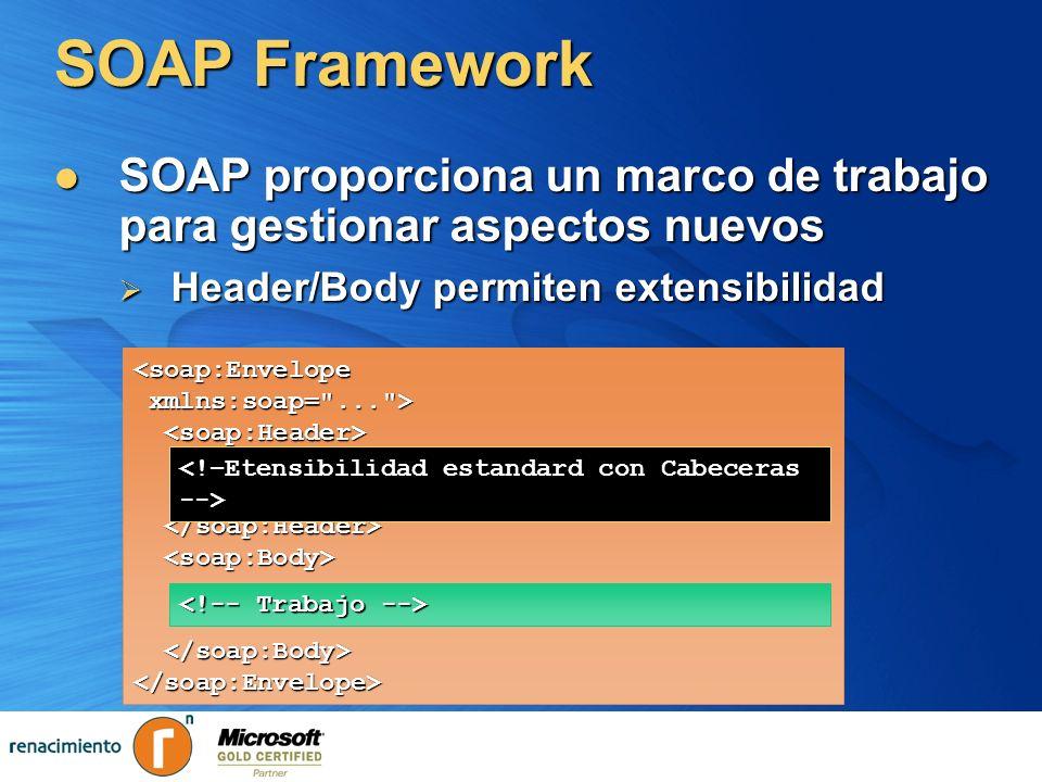 SOAP Framework SOAP proporciona un marco de trabajo para gestionar aspectos nuevos. Header/Body permiten extensibilidad.