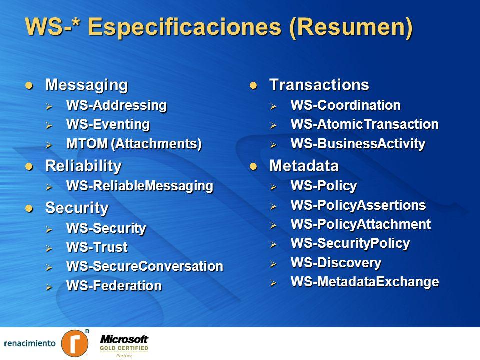 WS-* Especificaciones (Resumen)
