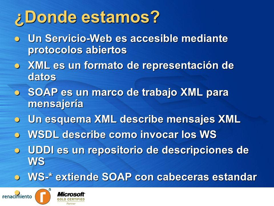 ¿Donde estamos Un Servicio-Web es accesible mediante protocolos abiertos. XML es un formato de representación de datos.