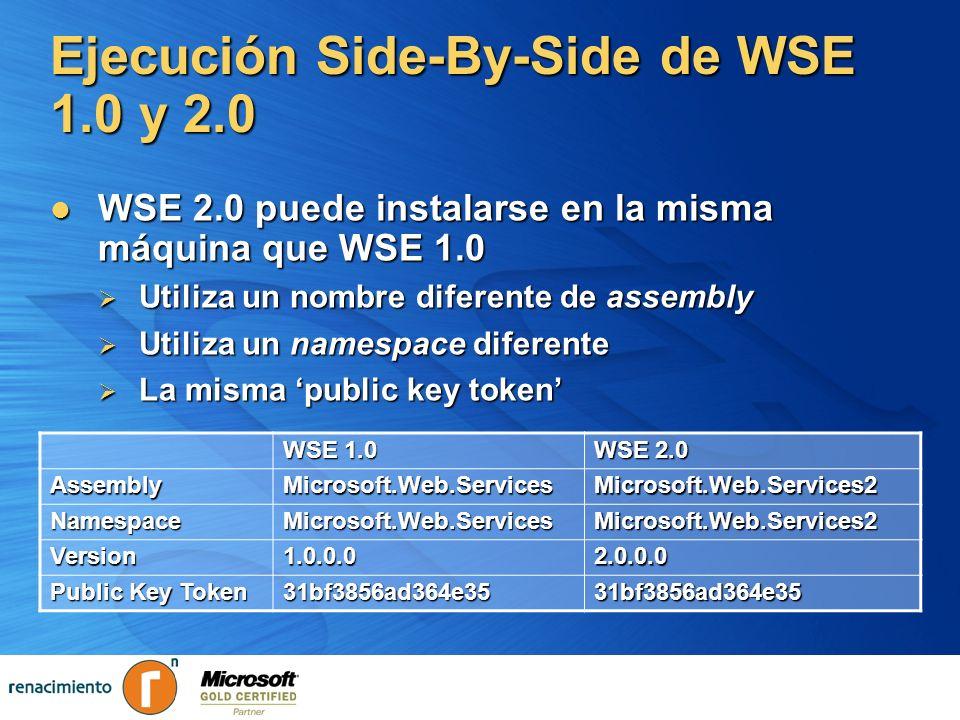 Ejecución Side-By-Side de WSE 1.0 y 2.0