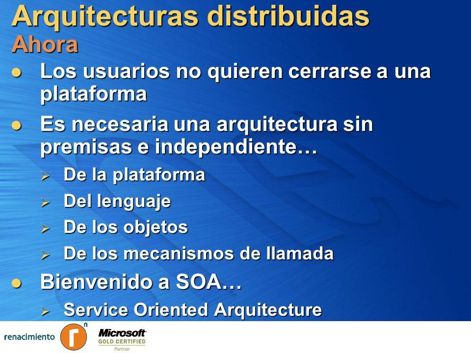 Arquitecturas distribuidas Ahora