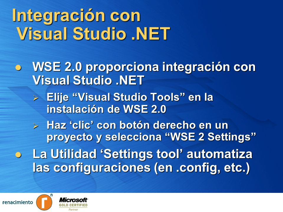 Integración con Visual Studio .NET