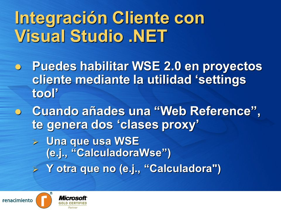 Integración Cliente con Visual Studio .NET