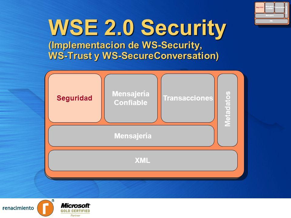 SecurityReliable. Messaging. Transactions. Metadata. XML. Seguridad. Mensajería. Confiable. Transacciones.