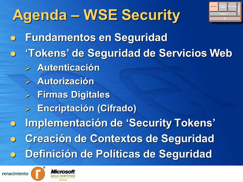 Agenda – WSE Security Fundamentos en Seguridad