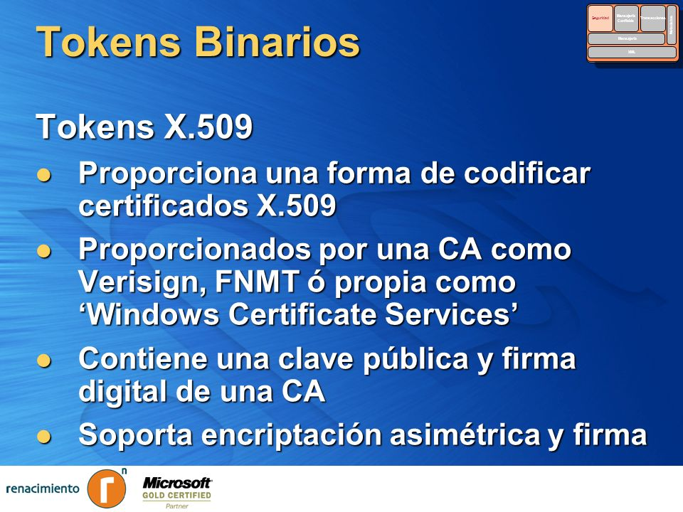 Tokens Binarios Tokens X.509