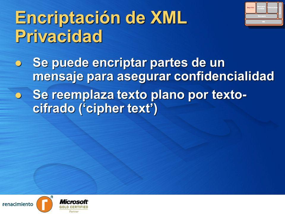 Encriptación de XML Privacidad