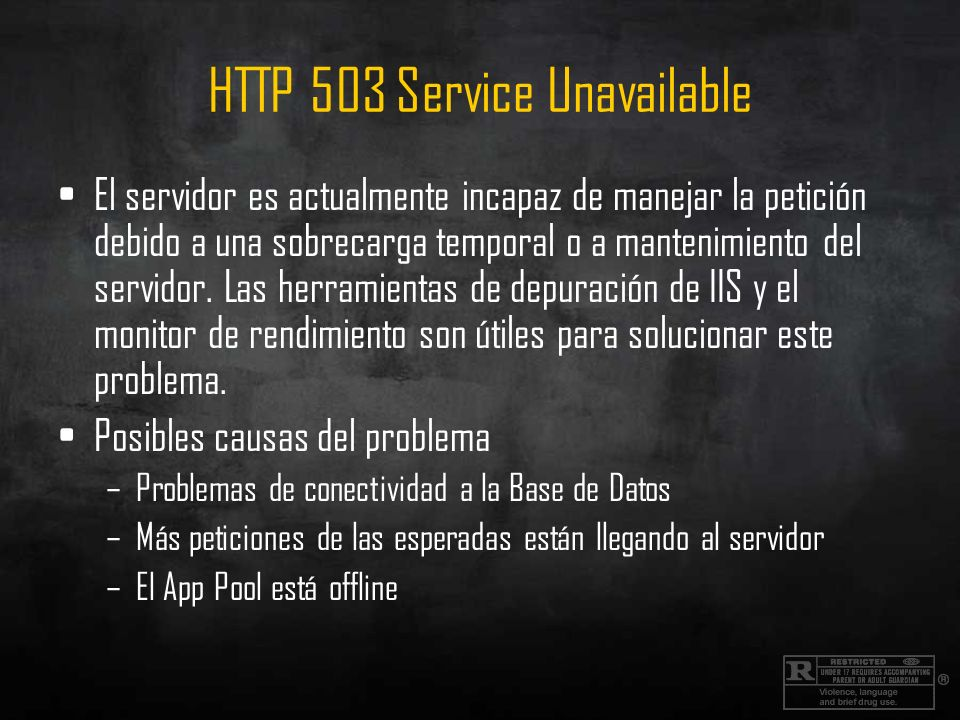 HTTP 503 Service Unavailable