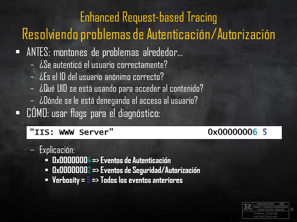 Enhanced Request-based Tracing Resolviendo problemas de Autenticación/Autorización