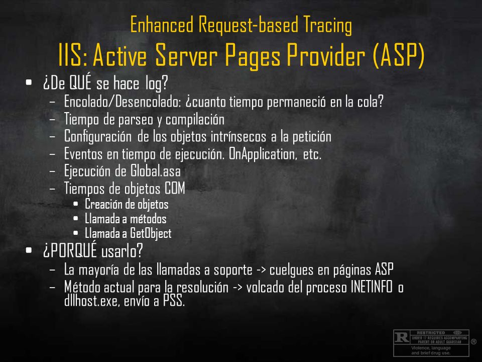 Enhanced Request-based Tracing IIS: Active Server Pages Provider (ASP)
