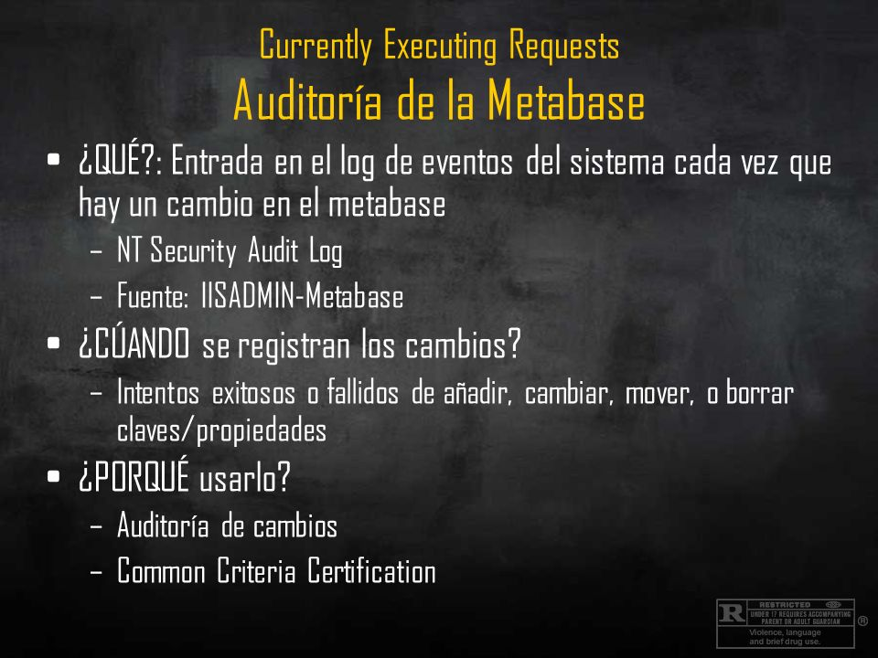 Currently Executing Requests Auditoría de la Metabase