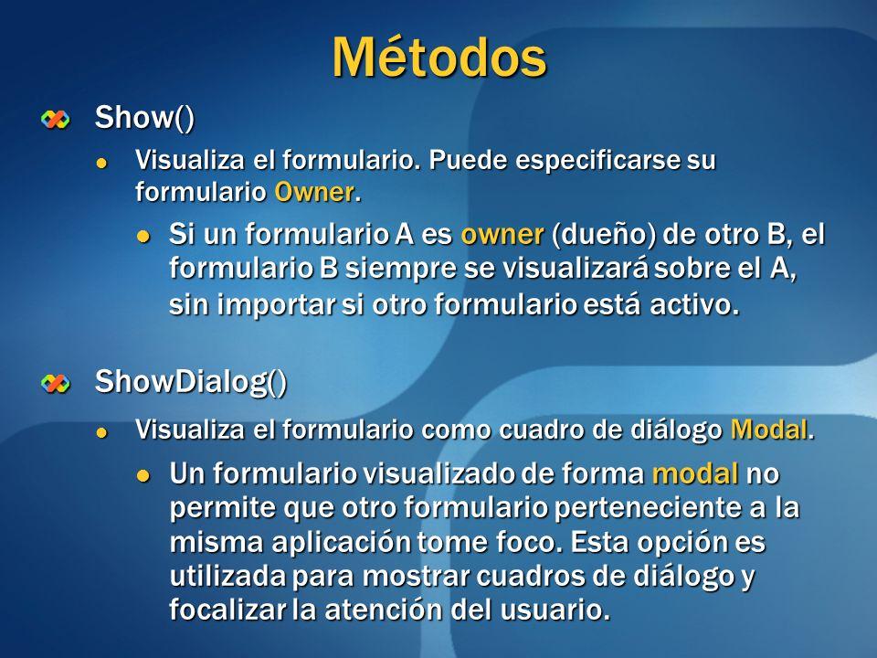 Métodos Show() ShowDialog()